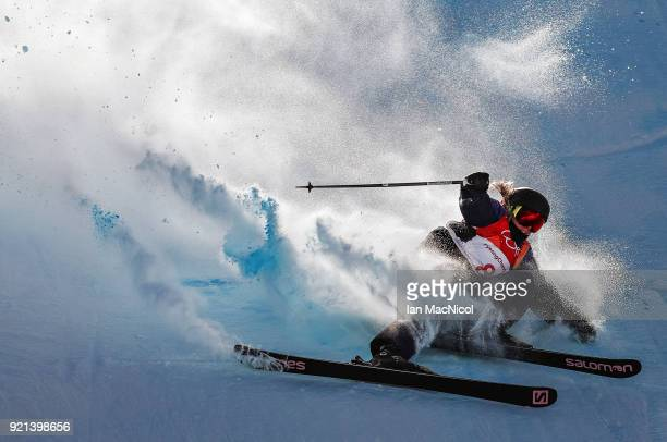 Katie Summerhayes of Great Britain crashes during the Freestyle Skiing on day eight of the PyeongChang 2018 Winter Olympic Games at Phoenix Snow Park...
