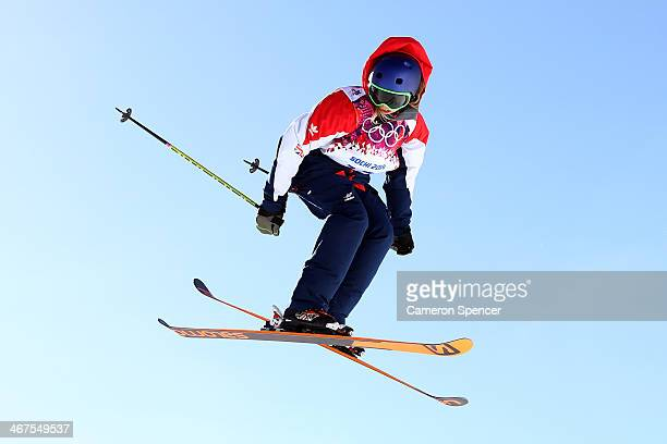 Katie Summerhayes of Great Britain practices during a Slopestyle official training session ahead of the the Sochi 2014 Winter Olympics at Rosa Khutor...