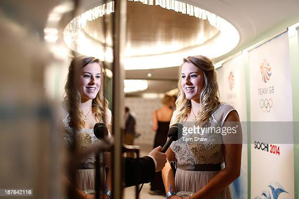 Katie Summerhayes of Great Britain talks to the press during the British Olympic Ball at The Dorchester on October 30 2013 in London England