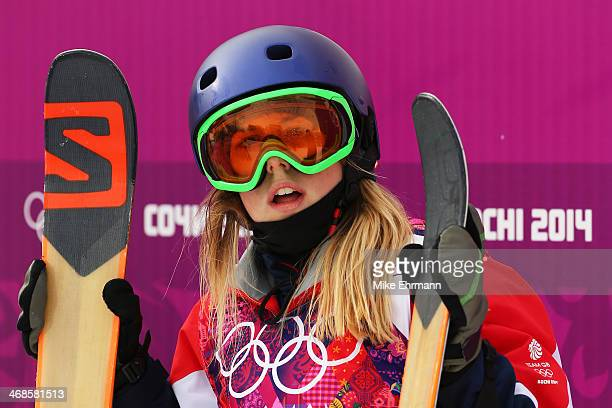 Katie Summerhayes of Great Britain waits for her score in the Freestyle Skiing Women's Ski Slopestyle Finals on day four of the Sochi 2014 Winter...