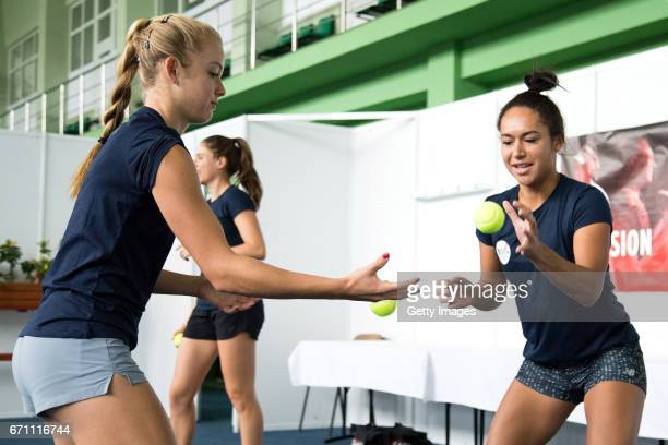 Katie Swan and Hather Watson warm up during a Great Britain Fed Cup training session at Tenis Club IDU on April 21 2017 in Constanta Romania