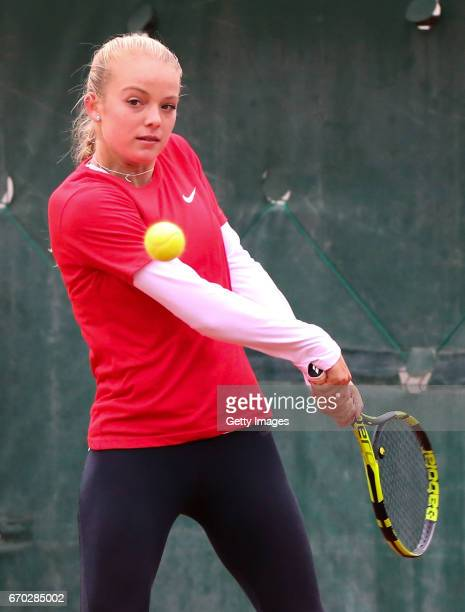 Katie Swan during a Great Britain Fed Cup training session at Tenis Club IDU on April 19 2017 in Constanta Romania