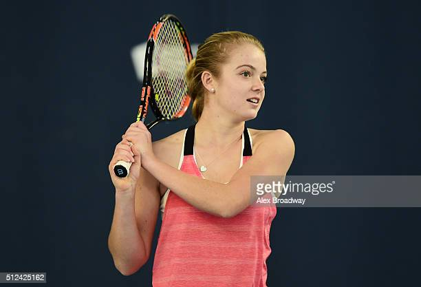 Katie Swan in action during the 'Sport Relief 2016 24 Hours of Tennis' event at the National Tennis Centre on February 25 2016 in London England