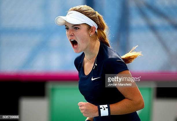 Katie Swan of Great Britain celebrates a point during her match against Ysaline Bonaventure during the tie between Belgium and Great Britain on day...