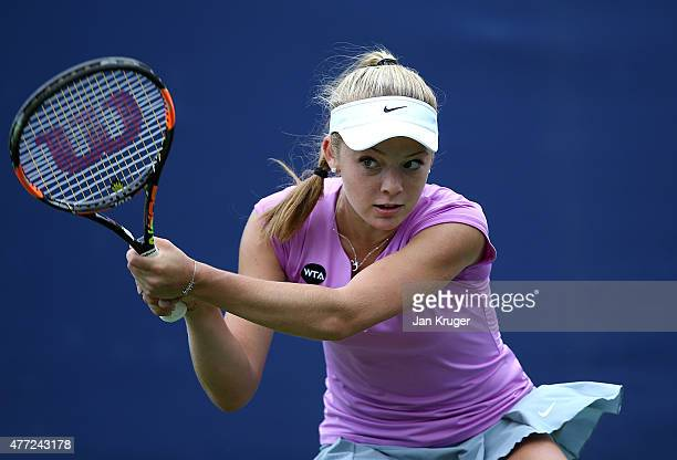 Katie Swan of Great Britain in action against Tsvetana Pironkova of Bulgaria on day one of the Aegon Classic at Edgbaston Priory Club on June 15 2015...
