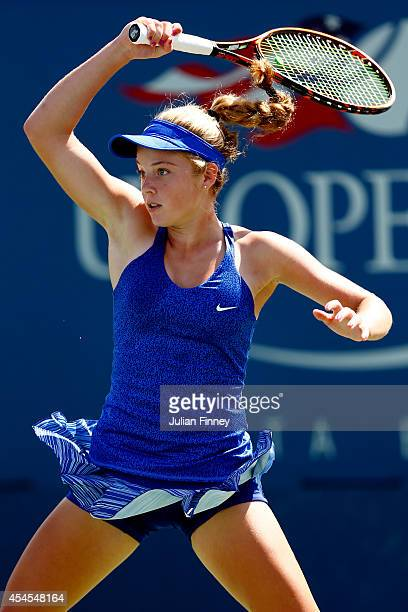 Katie Swan of Great Britain plays against Anhelina Kalinina of Ukraine during their junior girls' second round match on Day Ten of the 2014 US Open...
