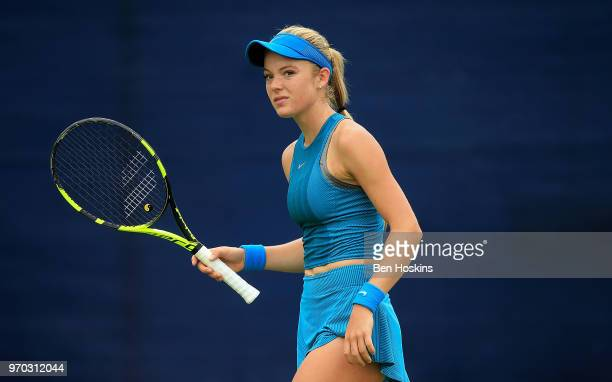 Katie Swan of Great Britain reacts during her qualifying match against Abigail TereApisah of Papua New Guinea on Day One of the Nature Valley Open at...