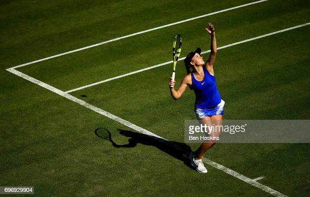 Katie Swan of Great Britain serves during the qualifying match against Elizaveta Kulichkova of Russia at Edgbaston Priory Club on June 17 2017 in...