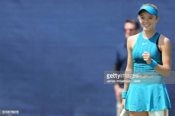 Katie Swan of Great Britian delighted after winning her Qualifying match during Day 2 of the Nature Valley open at Nottingham Tennis Centre on June...