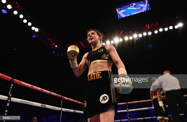 Katie Taylor celebrates victory over Monica Gentili after their SuperFeatherweight contest at The O2 Arena on March 4 2017 in London England
