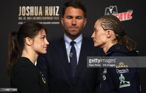 Katie Taylor Eddie Hearn and Delfine Persoon during the undercard press conference at Madison Square Garden New York