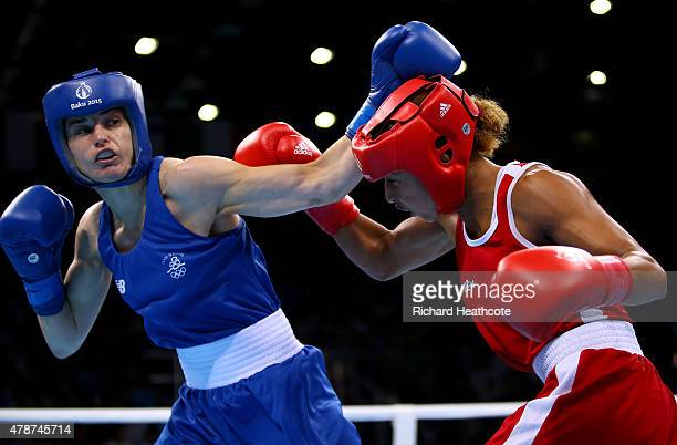 Katie Taylor of Ireland and Estelle Mossely of France compete in the Women's Boxing Lightweight Final during day fifteen of the Baku 2015 European...