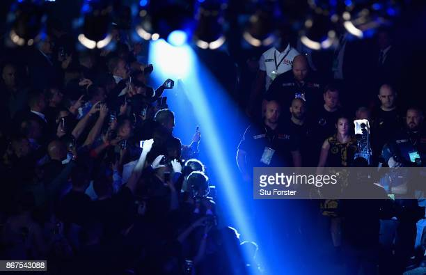 Katie Taylor of Ireland makes her way to the ring before her WBA Lightweight World Championship bout against Anahi Sanchez at Principality Stadium on...