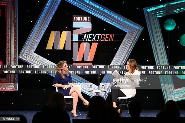 Katie Telford and Leigh Gallagher speak onstage during the Northern Exposure One on One session at Fortune MPW Next Gen 2016 on November 30 2016 in...