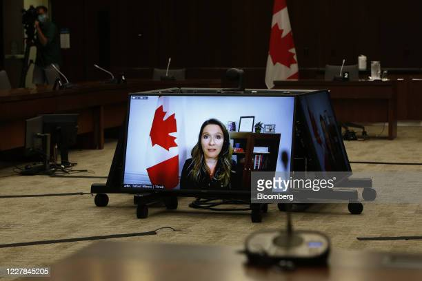 Katie Telford Canada's chief of staff speaks by video conference before the House of Commons standing committee in Ottawa Ontario Canada on Thursday...