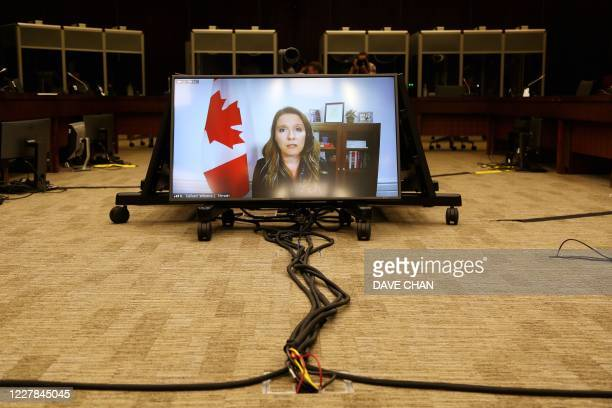 Katie Telford Chief of Staff to Canada's Prime Minister Justin Trudeau testifies via video conference during a House of Commons Standing Committee on...