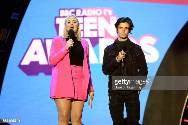 Katie Thistleton and Cel Spellman speak on stage at the BBC Radio 1 Teen Awards 2017 at Wembley Arena on October 22 2017 in London England