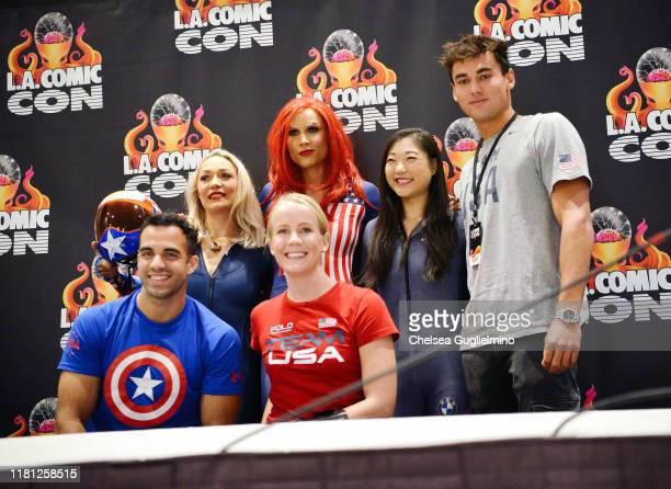 Katie Uhlaender, Lolo Jones, Mirai Nagasu and Johnny Hooper Danell Leyva and Mallory Weggemann attend 2019 Los Angeles Comic-Con at Los Angeles...