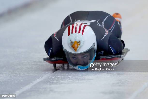 Katie Uhlaender of The United States in action during a Women's Skeleton training run ahead of the PyeongChang 2018 Winter Olympic Games at Olympic...