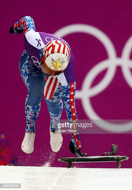 Katie Uhlaender of the United States makes a run during a Women's Skeleton training session on Day 4 of the Sochi 2014 Winter Olympics at the Sanki...