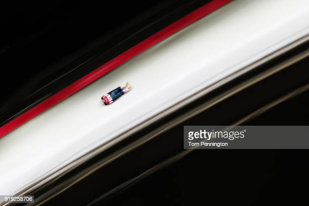 Katie Uhlaender of the United States makes a run during the Women's Skeleton on day eight of the PyeongChang 2018 Winter Olympic Games at Olympic...