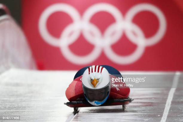 Katie Uhlaender of the United States makes her final a run during the Women's Skeleton on day eight of the PyeongChang 2018 Winter Olympic Games at...
