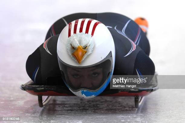 Katie Uhlaender of the United States practices during Women's Skeleton training ahead of the PyeongChang 2018 Winter Olympic Games at the Olympic...