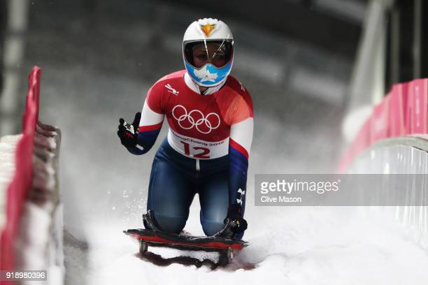 Katie Uhlaender of the United States reacts in the finish area during the Women's Skeleton heat two at Olympic Sliding Centre on February 16 2018 in...