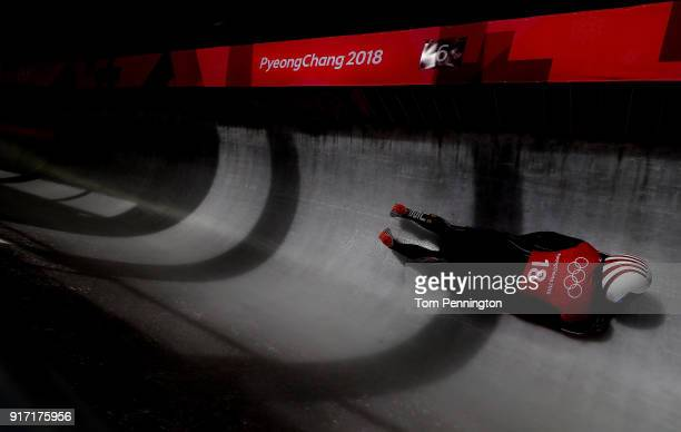 Katie Uhlaender of the United States slides down the track during Women Skeleton training at Olympic Sliding Centre on February 12 2018 in...