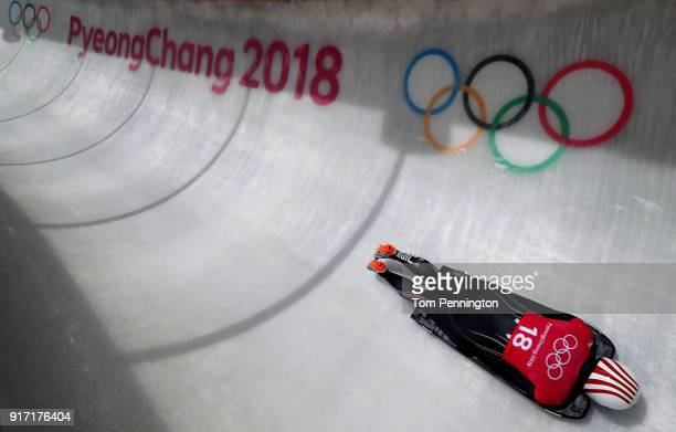 Katie Uhlaender of the United States slides down the track during Women Skeleton training at Olympic Sliding Centre on February 12, 2018 in...