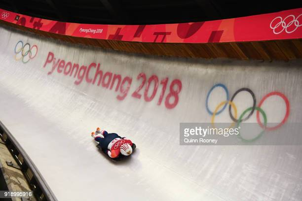 Katie Uhlaender of the United States slides during the Women's Skeleton at Olympic Sliding Centre on February 16, 2018 in Pyeongchang-gun, South...