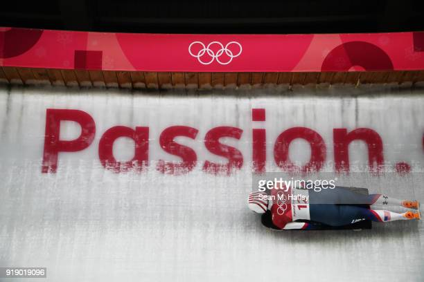 Katie Uhlaender of the United States slides during the Women's Skeleton heats at Olympic Sliding Centre on February 16, 2018 in Pyeongchang-gun,...