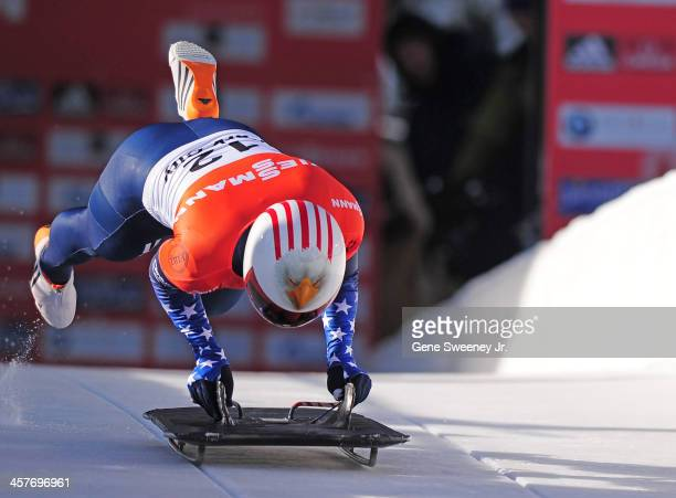 Katie Uhlaender of the United States starts her run in the Women's Skeleton competition during the Viessmann IBSF Bobsled and Skeleton World Cup...