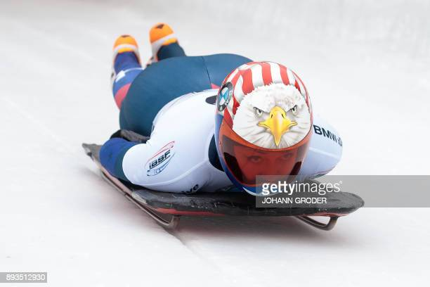 Katie Uhlaender of the US takes the start of the first run of the women's skeleton event during the fifth of eight races within the 2017-2018 IBSF...