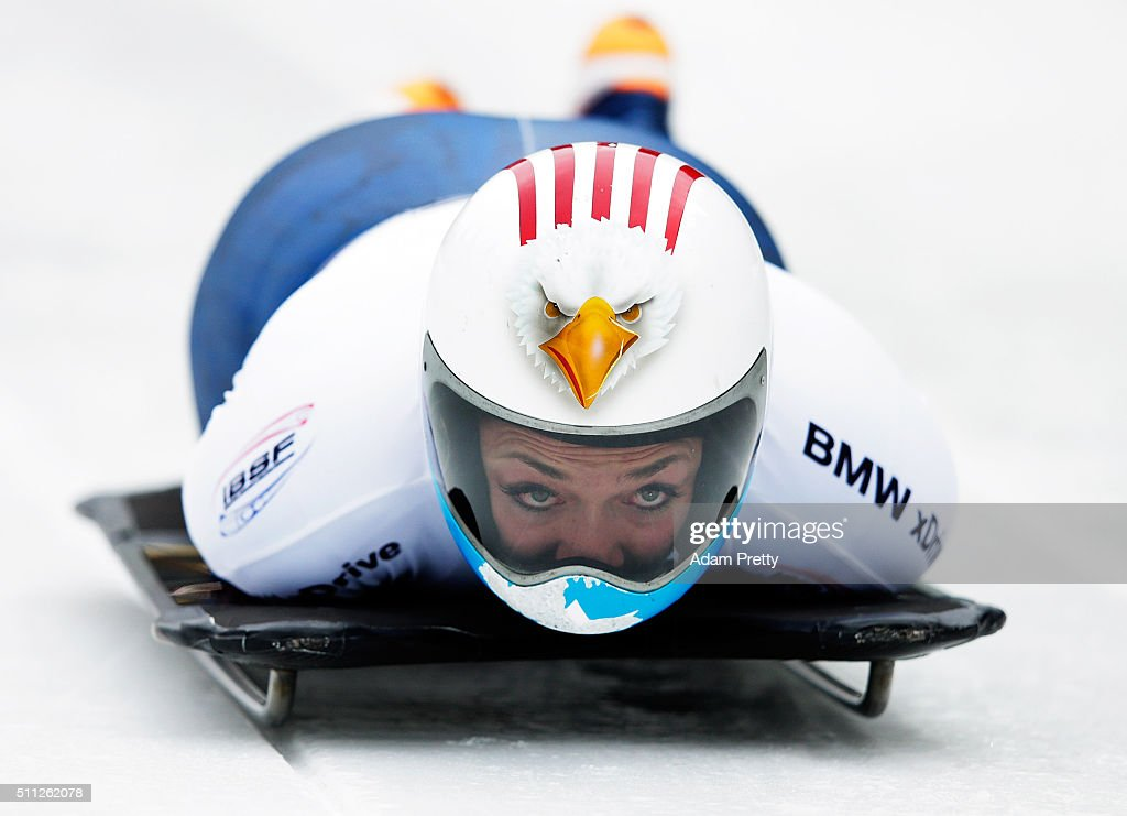 Katie Uhlaender of the USA completes her first run of the Women's Skeleton during Day 5 of the IBSF World Championships 2016 at Olympiabobbahn Igls on February 19, 2016 in Innsbruck, Austria.