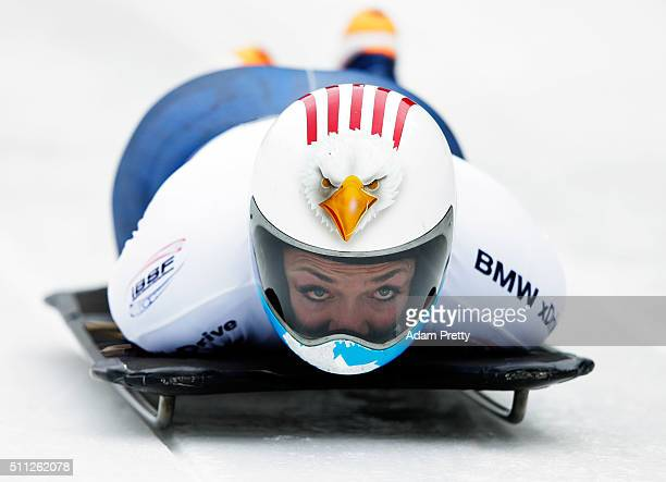 Katie Uhlaender of the USA completes her first run of the Women's Skeleton during Day 5 of the IBSF World Championships 2016 at Olympiabobbahn Igls...