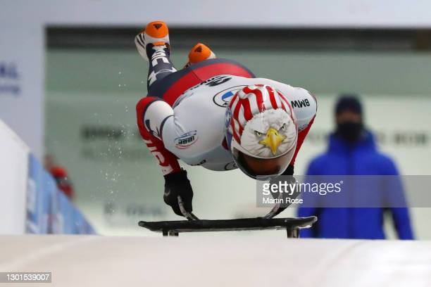 Katie Uhlaender of United States competes In her first run in Women's Skeleton during the IBSF World Championships 2021 Altenberg Women's Skeleton...