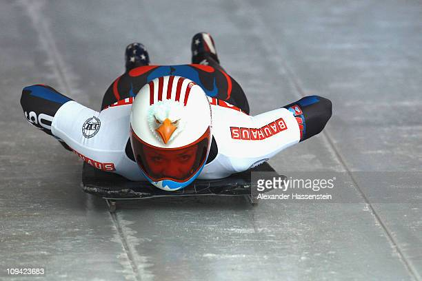 Katie Uhlaender of US competes in the second run of the women's Skeleton World Championship on February 25, 2011 in Koenigssee, Germany.