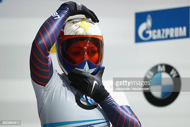 Katie Uhlaender of USA competes during the Women's Skeleton first run of the BMW IBSF World Cup at Deutsche Post Eisarena Koenigssee on January 27,...