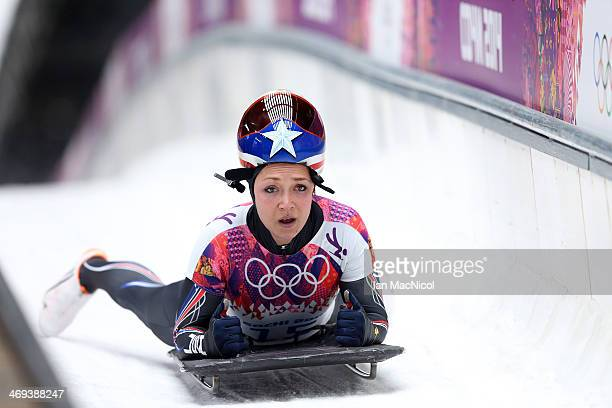 Katie Uhlaender of USA completes her run in the Women's Skeleton Final on Day 7 of the Sochi 2014 Winter Olympics at Sliding Center Sanki on February...