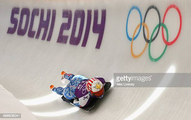 Katie Uhlaender of USA in action during a training session on Day 5 of the Sochi 2014 Winter Olympics at the Sanki Sliding Center on February on...