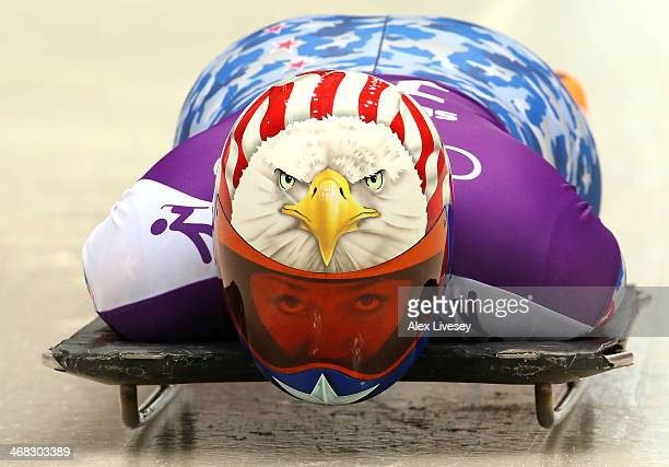 Katie Uhlaender of USA prepares in action during a Women's Skeleton training session on Day 3 of the Sochi 2014 Winter Olympics at the Sanki Sliding...