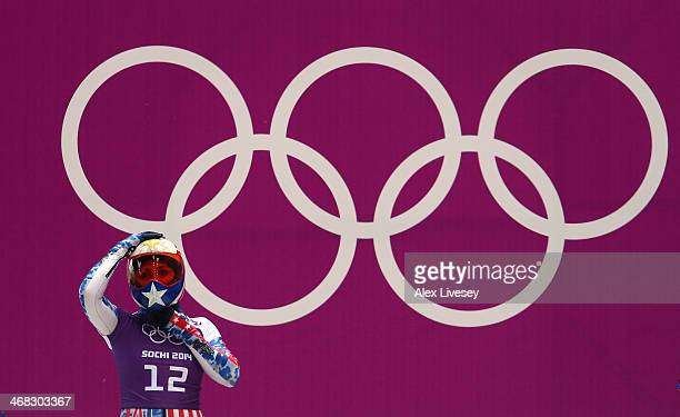 Katie Uhlaender of USA prepares to make a run during a Women's Skeleton training session on Day 3 of the Sochi 2014 Winter Olympics at the Sanki...
