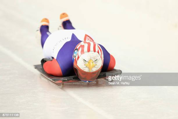 Katie Uhlaender of USA takes a training run in the Women's Skeleton during the BMW IBSF Bobsleigh + Skeleton World Cup at Utah Olympic Park November...