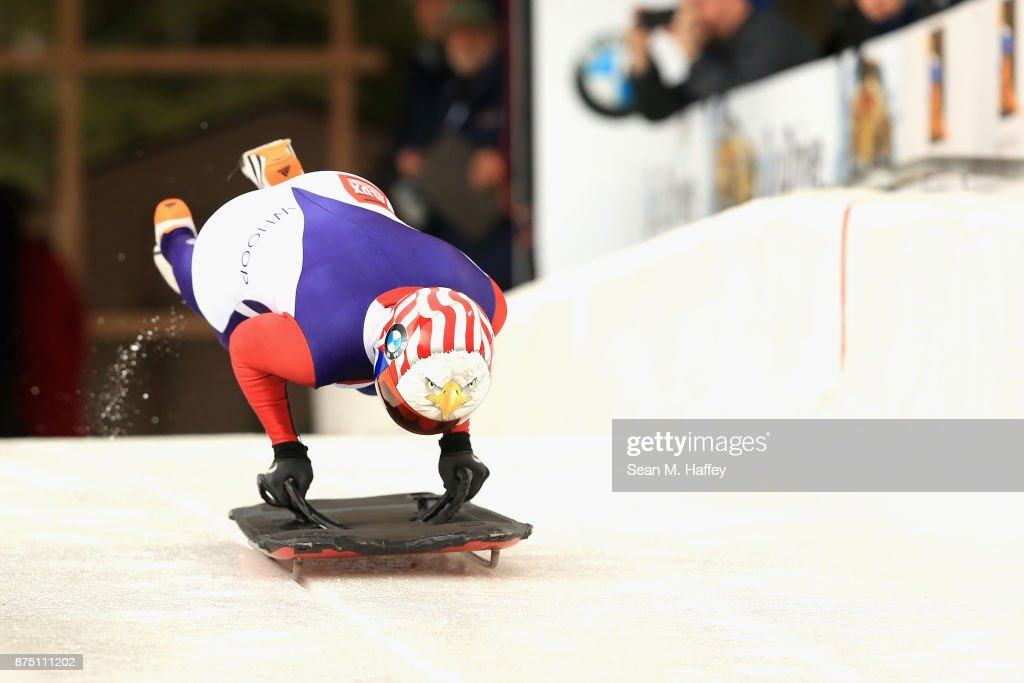 Katie Uhlaender of USA takes a training run in the Women's Skeleton during the BMW IBSF Bobsleigh + Skeleton World Cup at Utah Olympic Park November 16, 2017 in Park City, Utah.