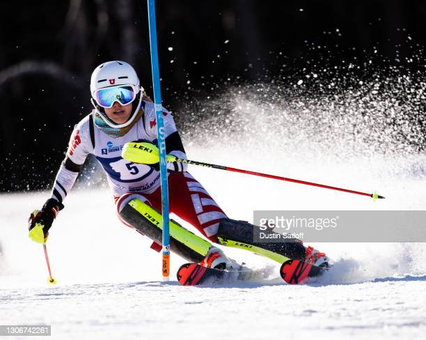 """Katie Vesterstein of the University of Utah during the first run of the women""""u2019s slalom at the NCAA Skiing Championship on March 12, 2021 in..."""
