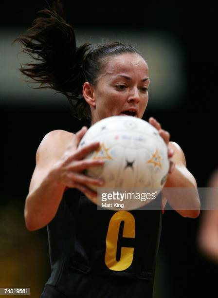 Katie Walker of the Firebirds catches the ball during the week five Commonwealth Bank Trophy match between the Sydney Swifts and the Queensland...