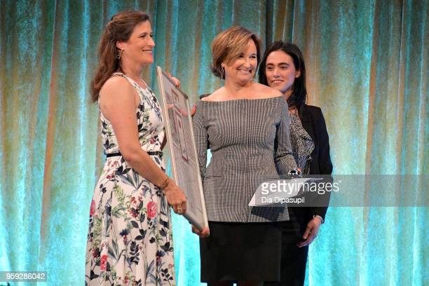 Katie Watkin and Maggie Lear pose on stage at the Bottomless Closet's 19th Annual Spring Luncheon on May 16 2018 in New York City