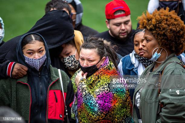 Katie Wright , Daunte Wright's mother, and family members attend a press conference at the Hennepin County Government Center in Minneapolis,...