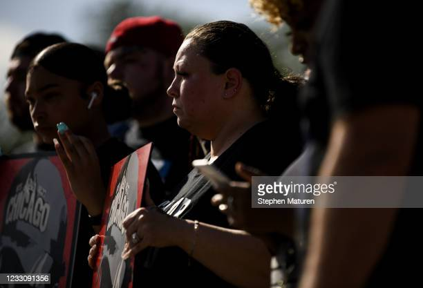 Katie Wright , mother of Daunte Wright, attends a press conference outside the Minnesota State Capitol building on May 24, 2021 in St Paul,...